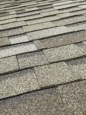 Asphalt roof shingles (foreground focus)